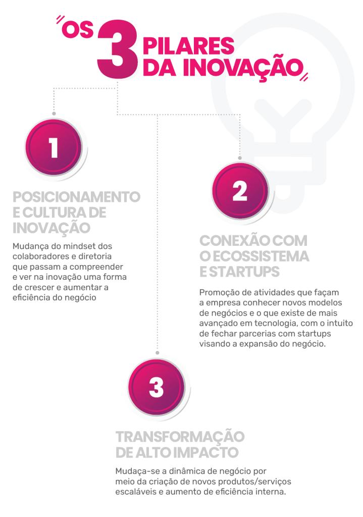 Os 3 pilares da inovação  Posicionamento e cultura de inovação Mudança do mindset dos colaboradores e diretoria que passam a compreender e ver na inovação uma forma de crescer e aumentar a eficiência do negócio  Conexão com o ecossistema e startups Promoção de atividades que façam a empresa a conhecer novos modelos de negócios e o que existe de mais avançado em tecnologia, com o intuito de fechar parcerias com startups visando a expansão do negócio.  Transformação de alto impacto Mudança-se a dinâmica de  negócio por meio  da criação de novos produtos/serviços escaláveis e aumento de eficiência interna.