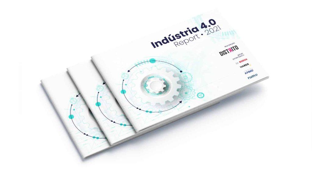 Na imagem, você vê a capa do estudo Distrito Indústria 4.0 Report 2021. A capa é com fundo branco, com o título mais acima (à direita) e ao lado (à esquerda) alguns símbolos circulares que remetem à indústria.